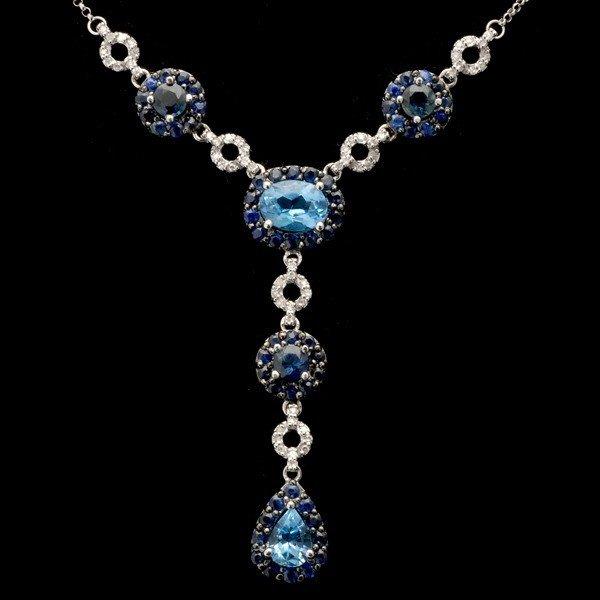 76: BLUE TOPAZ, SAPPHIRE, DIAMOND, 14K W/G NECKLACE.