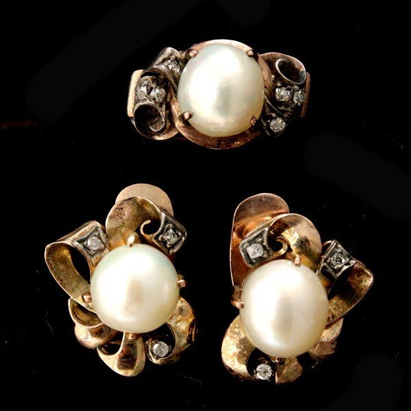 80: CULTURED PEARL, DIAMOND, 14K Y/G JEWELRY SUITE.