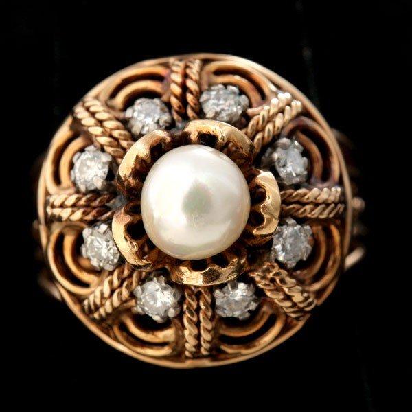 81: CULTURED PEARL, DIAMOND, 14K YELLOW GOLD RING.
