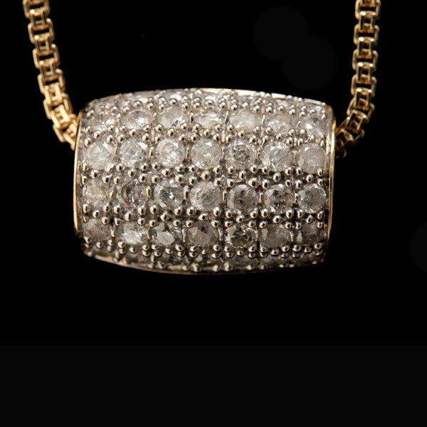 84: DIAMOND, 14K YELLOW GOLD PENDANT-NECKLACE.