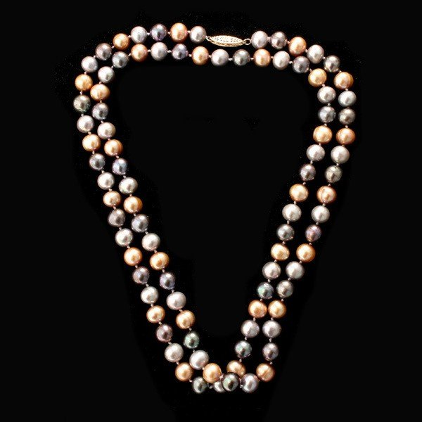 93: CULTURED PEARL, 14K YELLOW GOLD NECKLACE.