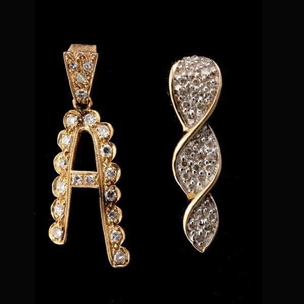 95: COLLECTION OF DIAMOND, 14K YELLOW GOLD PENDANTS.