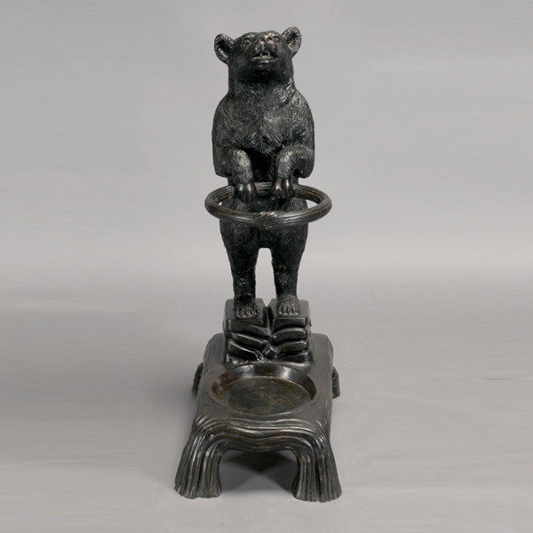 419: Black Forest Cast Iron Bear Umbrella Stand