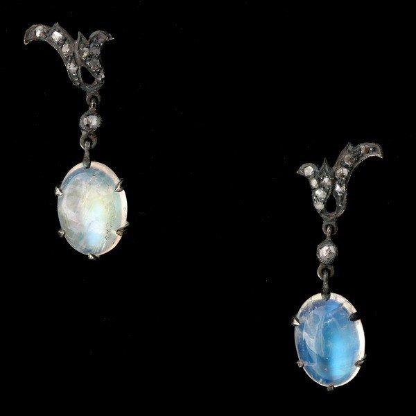 21: MOONSTONE, DIAMOND, 14K Y/G, S/S EARRINGS.