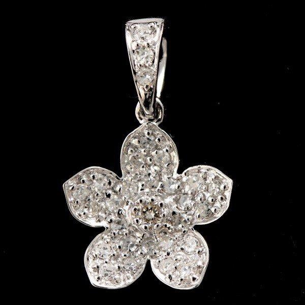22: DIAMOND, 14K WHITE GOLD FLOWER PENDANT.