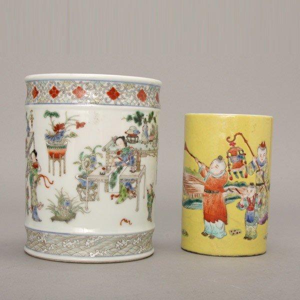 324: Two Polychrome-Enameled Porcelain Brush Pots