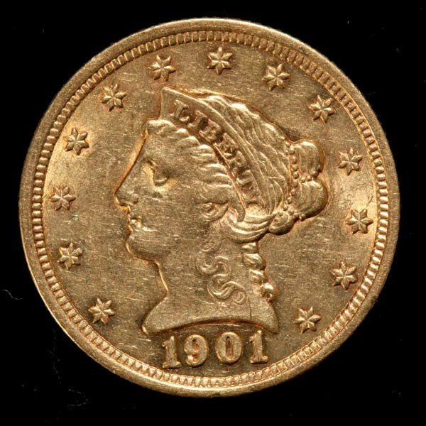 1000: United States $2 1/2 Gold Coin, 1901, AU.