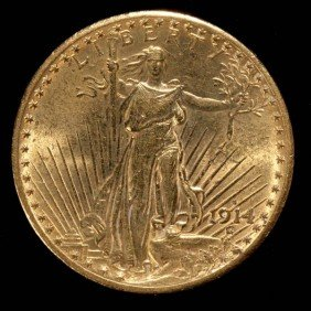 United States $20 Gold Coin, 1914-S, AU.