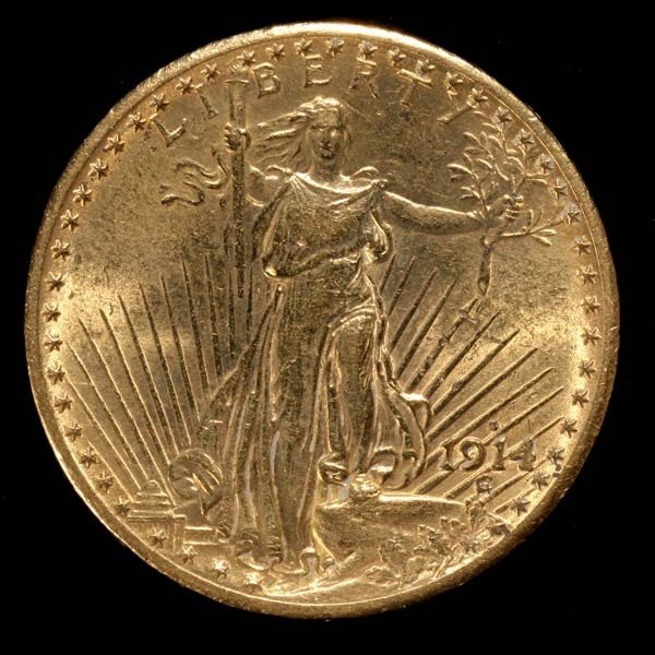1005: United States $20 Gold Coin, 1914-S, AU.