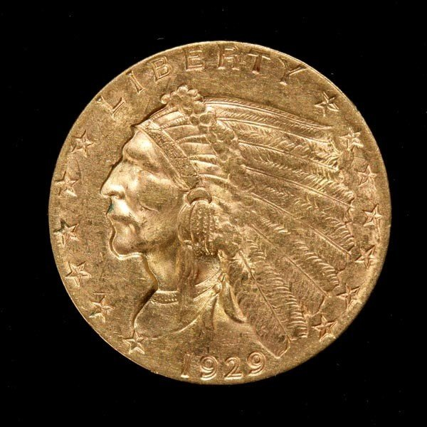 1006: United States $2 1/2 Gold Coin, 1929, AU.