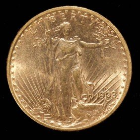 United States $20 Gold Coin, 1908-D, AU.