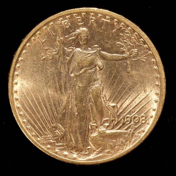 1008: United States $20 Gold Coin, 1908-D, AU.