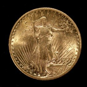 1009: United States $20 Gold Coin, 1907, AU.