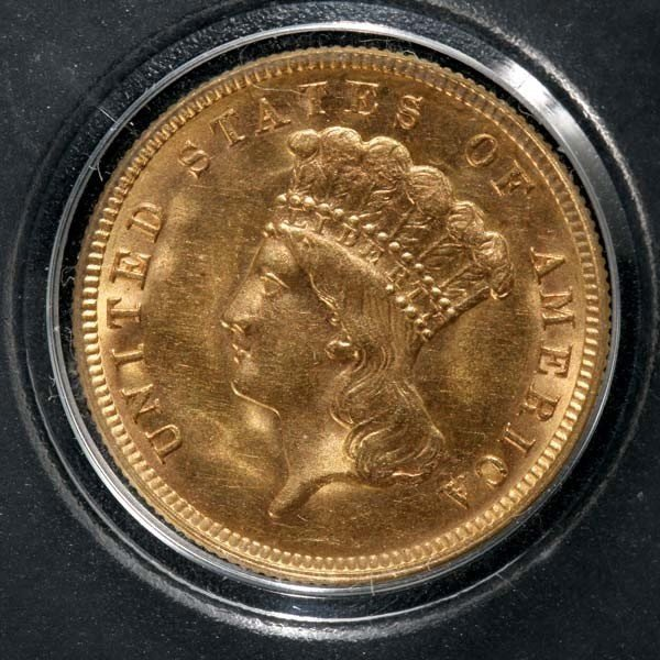 1010: United States $3 Gold Coin, 1888, AU.