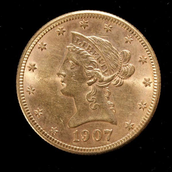 1011: United States $10 Gold Coin, 1907-S, AU.