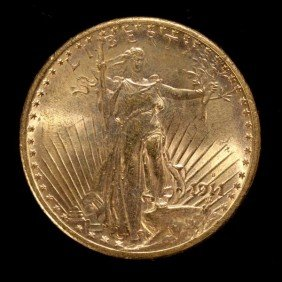 1012: United States $20 Gold Coin, 1911-S, AU.