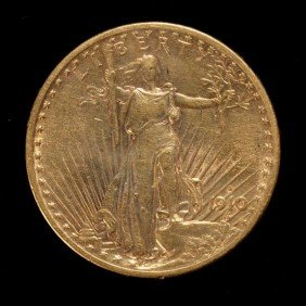 1013: United States $20 Gold Coin, 1910-S, AU.