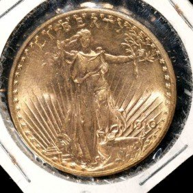 United States $20 Gold Coin, 1910-D, AU.