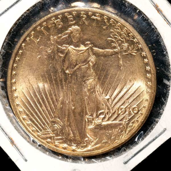 1014: United States $20 Gold Coin, 1910-D, AU.