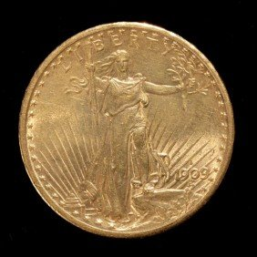 1015: United States $20 Gold Coin, 1909-S, AU.