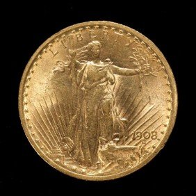1016: United States $20 Gold Coin, 1908, AU.