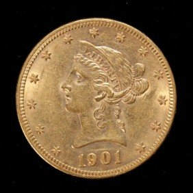 United States $10 Gold Coin, 1901, AU.