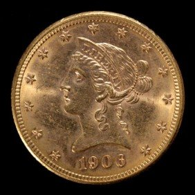 1018: United States $10 Gold Coin, 1906-D, AU.