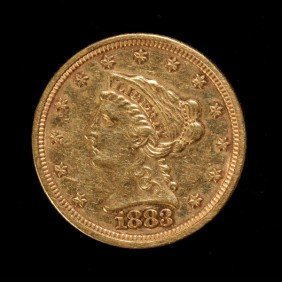 1020: United States $2 1/2 Gold Coin, 1883, AU.
