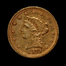 1021: United States $2 1/2 Gold Coin, 1879-S, EF.