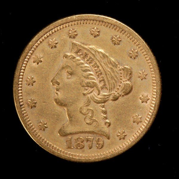 1022: United States $2 1/2 Gold Coin, 1879, EF.