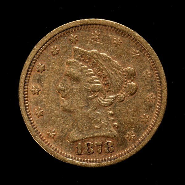 1023: United States $2 1/2 Gold Coin, 1878, EF.