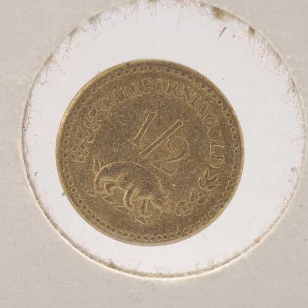 1045: U.S. 1853 California Gold Half Dollar Coin, AU. - 2
