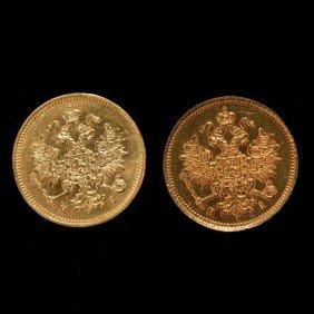 1050: 2 Russian Gold Coins, 1877-HI, 1874CPB-HI, AU.