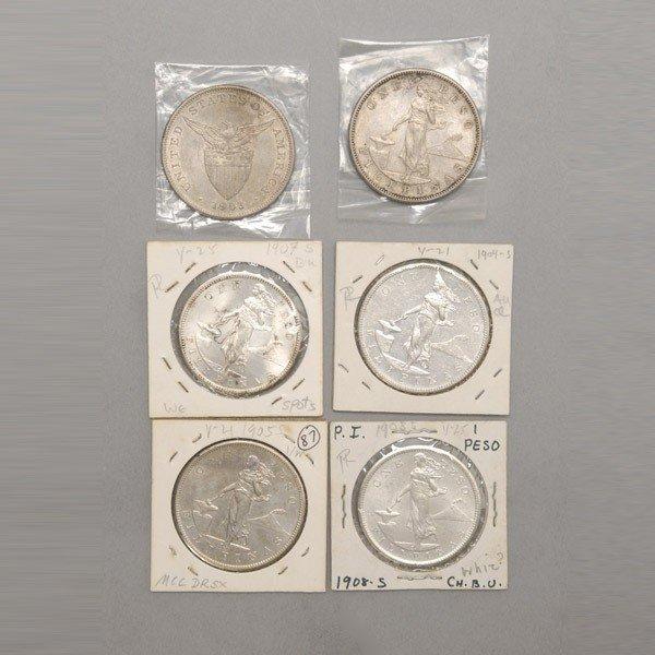 1159: 6 Philippine Silver Coins:1903 (2),1904-5,1907-8.
