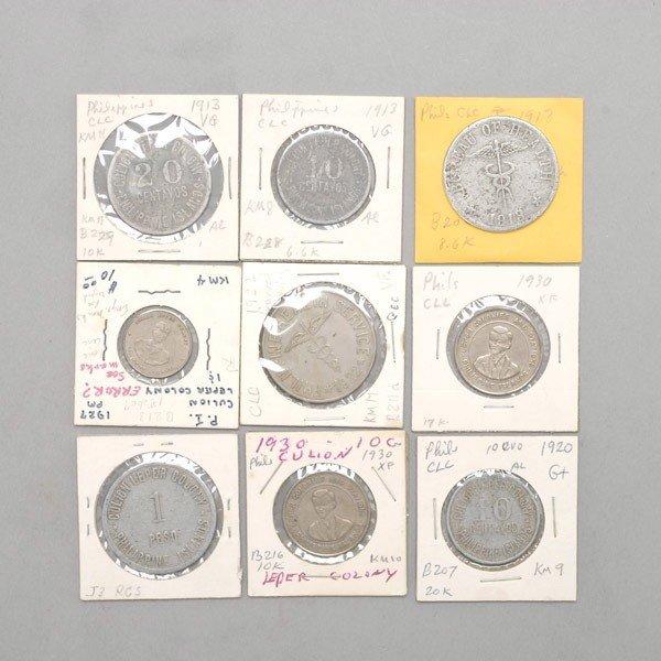 1161: Nine Philippine Colion Island Coins.