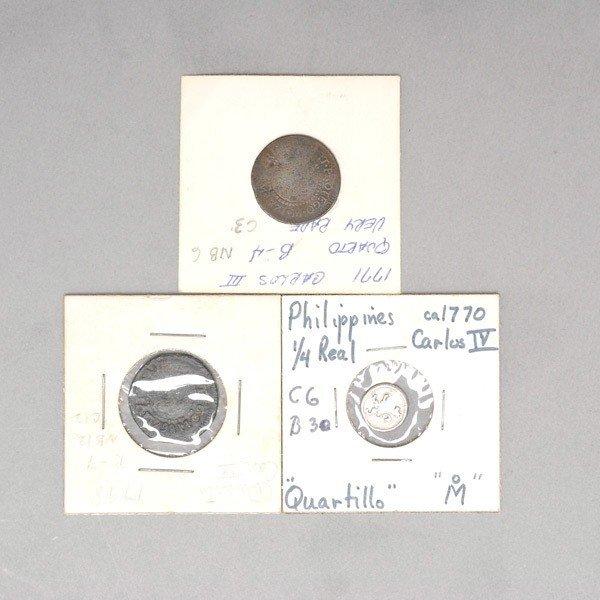1162: 3 Philippine 18th Century Coins: 1770, 1771, 1798