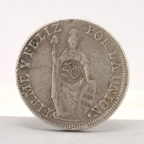 1169: 1835 Philippine 8 Reales Silver Coin.