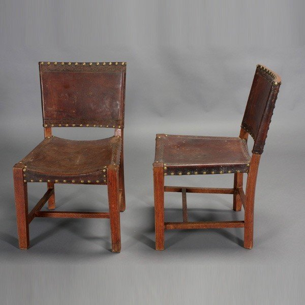 2005: Pair of Stickley Style Leather Side Chairs