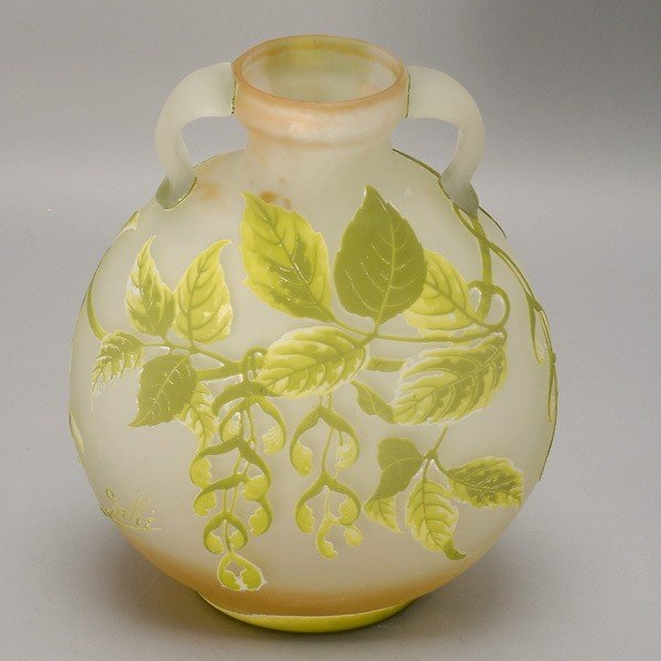 2014: Galle Two Handled Cameo Glass Vase