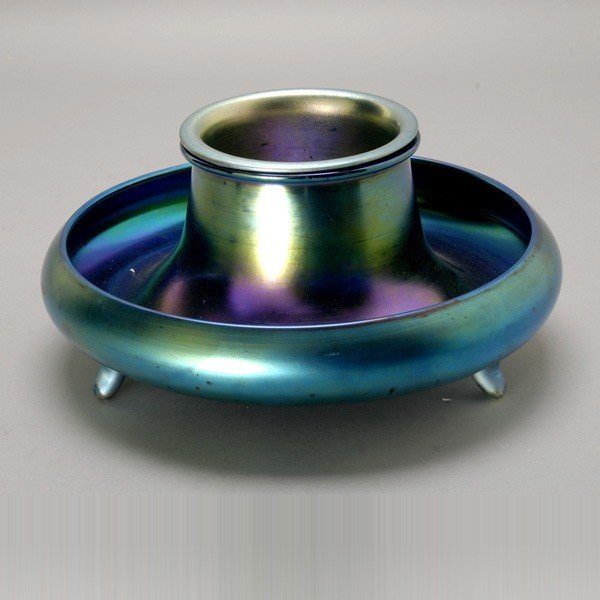 2015: Steuben Three-Footed Blue Aurene Bowl with Insert