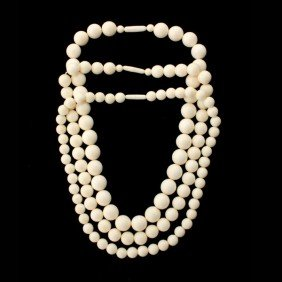 13: COLLECTION OF THREE IVORY BEAD NECKLACES.