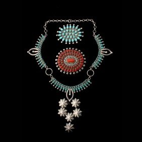 COLLECTION OF TURQUOISE, CORAL, SILVER JEWELRY.