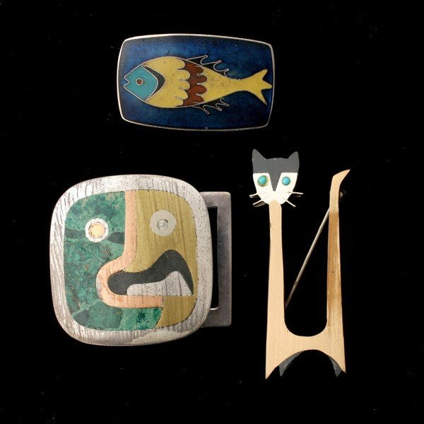 21: COLLECTION OF THREE INLAY, ENAMEL, SILVER ITEMS.