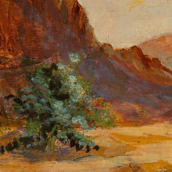 647: R. Brownell McGrew. Desert landscape.  Oil - 2