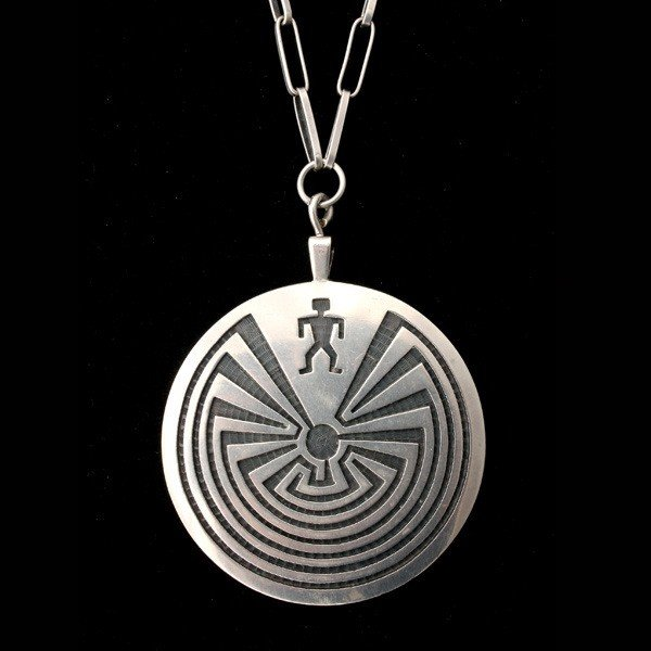14: SILVER HOPI LABYRINTH PENDANT-NECKLACE.