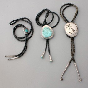 TURQUOISE, CORAL, SILVER, METAL, LEATHER BOLO TIES.