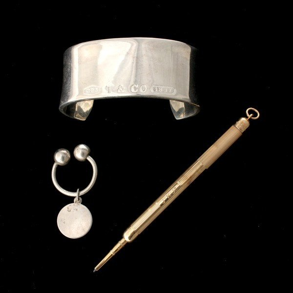 22: 3 TIFFANY & CO. 14K Y/G, STERLING SILVER ITEMS.