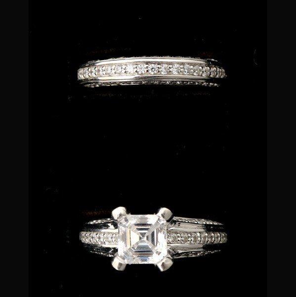 201: DIAMOND, 14K WHITE GOLD WEDDING SET.