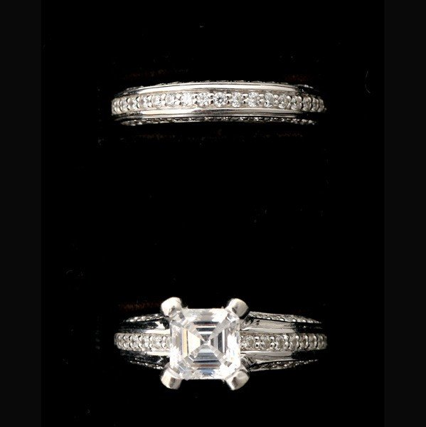 201: DIAMOND, 14K WHITE GOLD WEDDING SET.