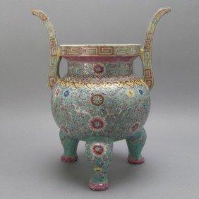 289: A Famille Rose-Enameled Porcelain Censer